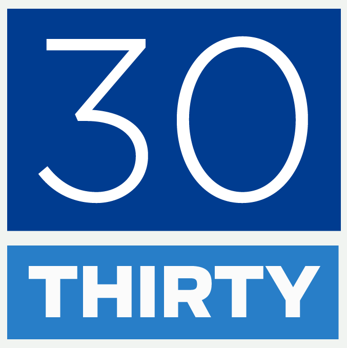 Blue stacked 30 under thirty logo