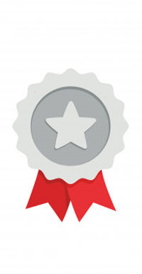 Silver rosette with start in center and red tails