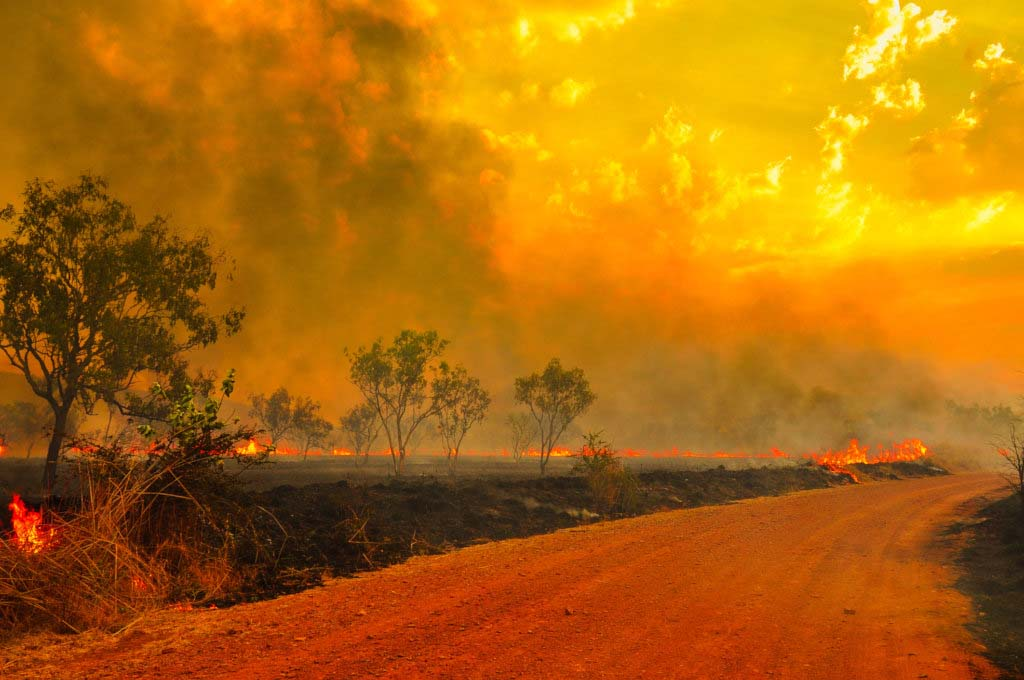 Australian countryside in flames with sky reflecting reds, oranges and yellows