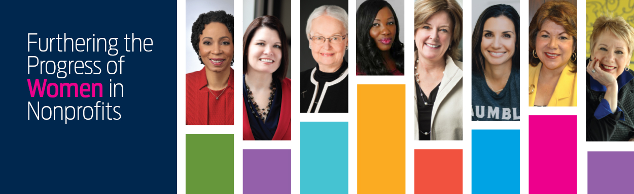 Furthering the Progress of Women in Nonprofits text in white on navy blue background with Women in raspberry. Text to left of eight headshots of women profiled in story package above colour bars of olive green, purple, aqua, goldenrod, orange red, periwinkle, raspberry, purple