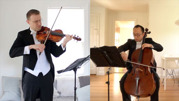Split screed display of white male standing playing violin and Asian male seated playing cello. Both in tuxedos.