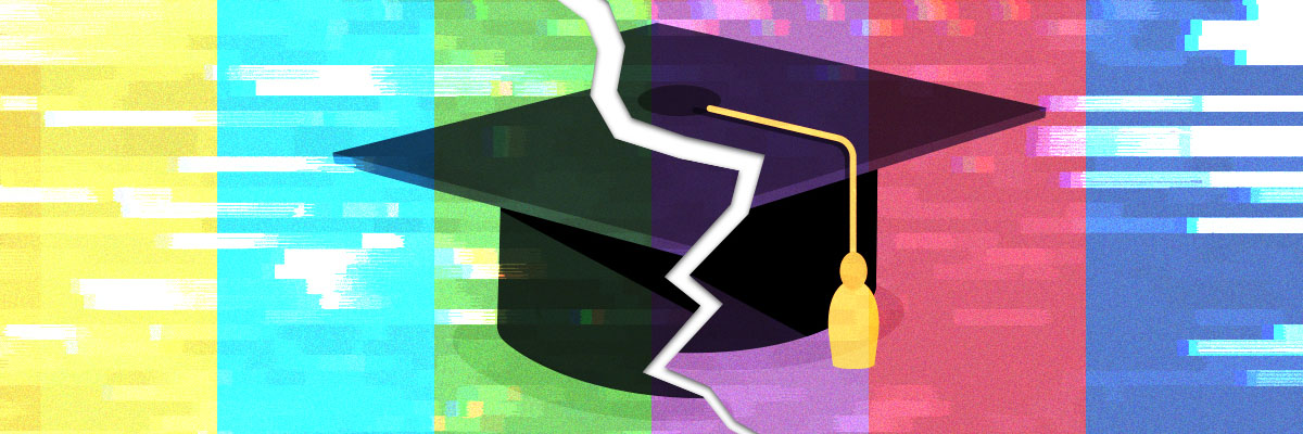 Colour bars with glitch behind mortarboard with entire image jaggedly split in half