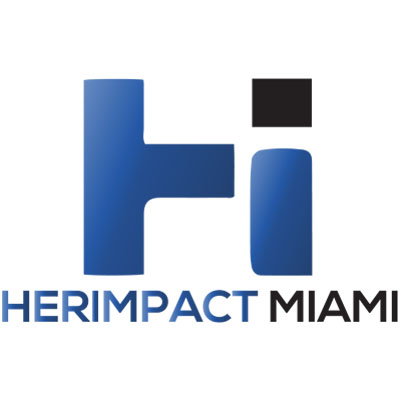 HERImpact Miami logo, shaded dark royal blue uppercase H with right leg a lowercase i with the dot in black above HERIMPACT in same blue followed by MIAMI in black.