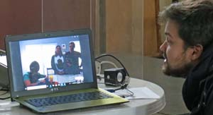 Gino Tubaro video chatting with a client.
