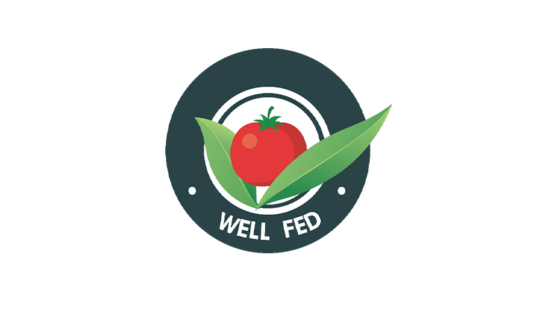 Well Fed illustrated logo featuring a red tomato and green leaves