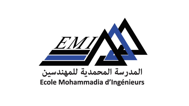Black and blue EMI underlined, trio of triangles atop Ecole Mohammadia d'Ingenieurs in Arabic then French