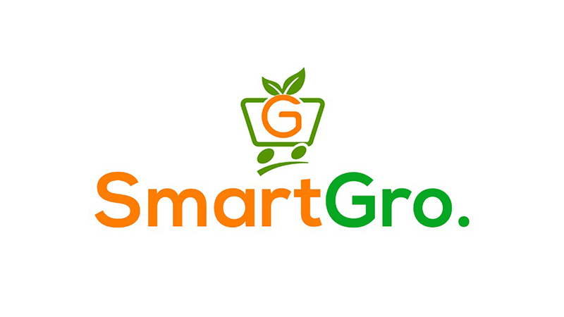 Orange and green logo featuring a shopping cart with a letter G growing leaves from the top