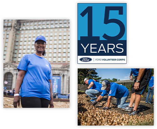Blue shirt volunteers and 15 year anniversary logo for the Ford Volunteer Corps