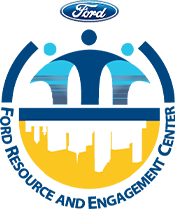 Blue and Yellow People and city logo for Ford Resource and Engagement Center