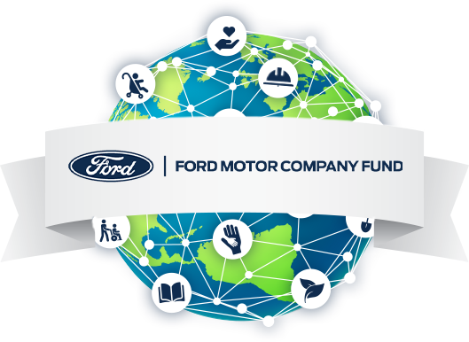 Globe with Ford Fund logo spanning a ribbon